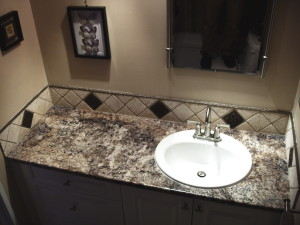 custom vanity with backsplash tile