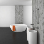modern bathroom with double basin concrete wall and dark floor