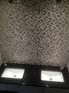 glass tile backsplash in bathroom