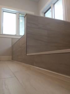 modern earth tone bathroom 12x24 tile